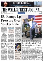 The Wall Street Journal Europe () Newspaper Front Page for 27 January 2012