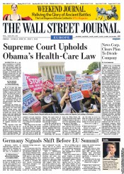 The Wall Street Journal Europe Newspaper Front Page (UK) for 29 June 2012