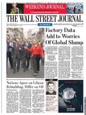 The Wall Street Journal Europe (UK) Newspaper Front Page for 2 September 2011