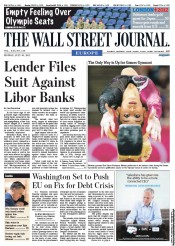 The Wall Street Journal Europe Newspaper Front Page (UK) for 30 July 2012