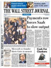 The Wall Street Journal Europe () Newspaper Front Page for 31 March 2011