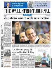 The Wall Street Journal Europe Newspaper Front Page (UK) for 4 April 2011