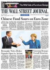 The Wall Street Journal Europe Newspaper Front Page (UK) for 8 June 2012