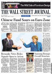 The Wall Street Journal Europe Newspaper Front Page (UK) for 9 June 2012