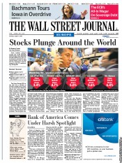 The Wall Street Journal Europe Newspaper Front Page (UK) for 9 August 2011