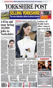 Yorkshire Post (UK) Newspaper Front Page for 12 April 2011