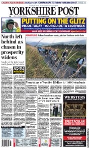 Yorkshire Post Newspaper Front Page (UK) for 15 August 2011