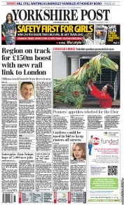 Yorkshire Post Newspaper Front Page (UK) for 17 August 2011