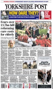 Yorkshire Post Newspaper Front Page (UK) for 5 July 2011