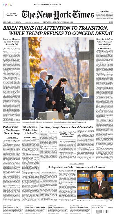 New York Times newspaper front page