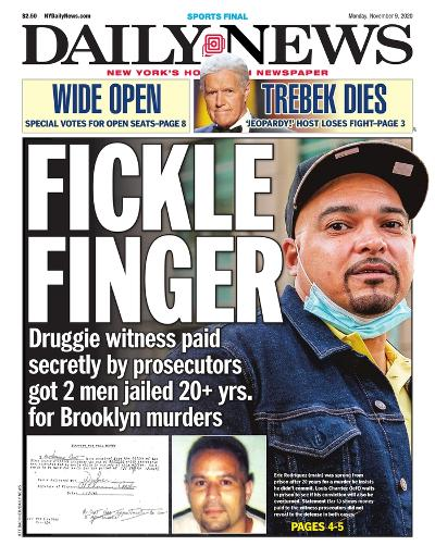 New York Daily News newspaper front page