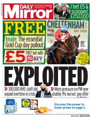 Front Page of Daily Mirror newspaper from London