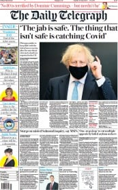 Front Page of The Daily Telegraph newspaper from London