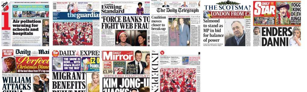 Today's UK Newspaper Front Pages
